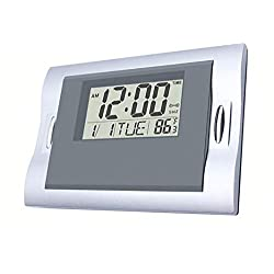 Vmarketingsite Digital Wall Clocks Grey, Silent Desk Clock Battery Operated Large LCD Kids Alarm Clock W/Countdown/Countup Timer, Indoor Temperature, Date for Office/Kitchen/Bedroom/Bathroom