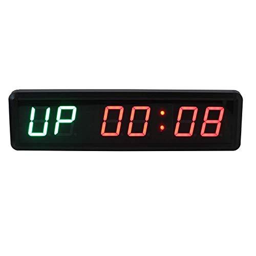 BRIGHTZ Reloj de pared, 1,8 pulgadas de alta entrenamiento de la aptitud del temporizador reloj de pared Mando a distancia cubierta Gimnasio temporizador de intervalos con los despertadores electrónic