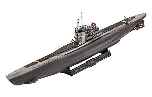 Revell Maqueta Submarino alemán Type VII C/41, Kit Modello Escala 1:350 (5154) (05154), Color incoloro, 19,2 cm de Largo