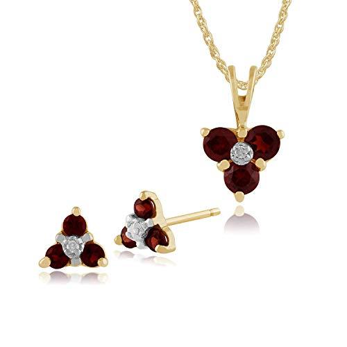 Gemondo 9ct Oro Giallo Granato & Diamante Floreale Orecchini A Lobo A Grappolo & 45cm Collana Set