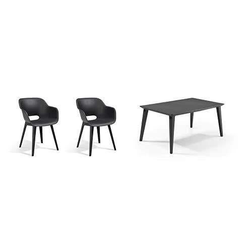 Allibert by Keter Akola Chair, Graphite, 56.7 x 55.8 x 80.1 cm + Gartentisch Lima, Graphit, rechteckig