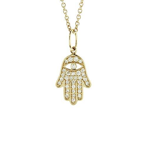 Brandlinger ® Atelier Goldkette Damen mit Anhänger Hamsa aus vergoldetem 925 Sterling Silber mit Zirkonia Steinen. Halskette mit Länge 40 cm + 5 cm