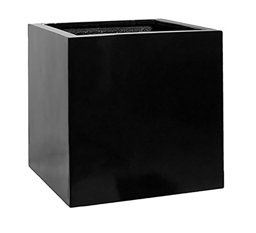 "Black Square Planter Box Indoor & Outdoor - Elegant Cube Shaped Flower Tree Pot - Inner Dimensions 20""H x 20""W x 20""L"