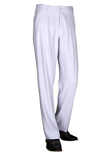 Herren Hose in Weiß mit Gerade geschnittenen Beinen Retro Vintage Mode Herren 50er 60er Jahre Outfit Model Swing Größe 48