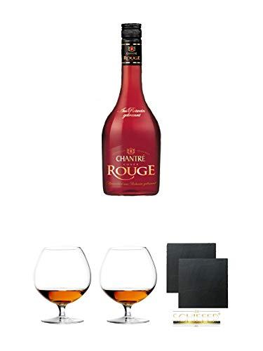 Chantrè Cuvee Rouge 0,7 Liter + Cognacglas/Schwenker Stölzle 1 Stück - 103/18 + Cognacglas/Schwenker Stölzle 1 Stück - 103/18 + Schiefer Glasuntersetzer eckig ca. 9,5 cm Ø 2 Stück