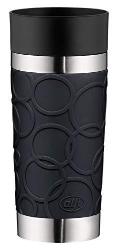 alfi Thermobecher isoMug Plus Soft, Kaffeebecher to go Edelstahl schwarz 350ml, Isolierbecher mit Druckknopf, auslaufsicher, zerlegbarer Verschluss, 5635.233.035 spülmaschinenfest, 4 Stunden heiß