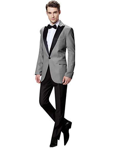 UMISS Herren Peak Revers 2 Stück Anzug für Männer EIN Knopf-formales Hochzeits-Smoking