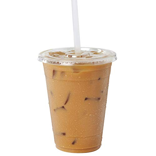 Clear Plastic Cups with Flat Slotted Lids for Iced Cold Drinks 16 Ounce, Disposable, Medium Size [50 Pack]