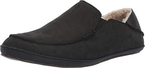 OluKai Moloa Slipper Men's Slippers, Premium Nubuck Leather Slip On Shoes, Shearling Lining & Gel Insert for Maximum Comfort, Drop-In Heel Design