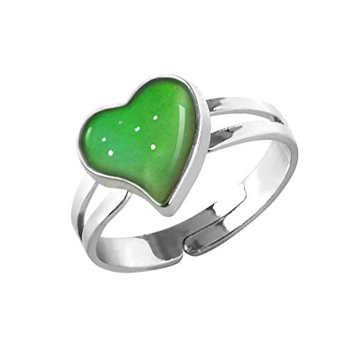 Mood Ring Can Change The Color And Adjustable The Size Of The Decorations (Heart Shaped)