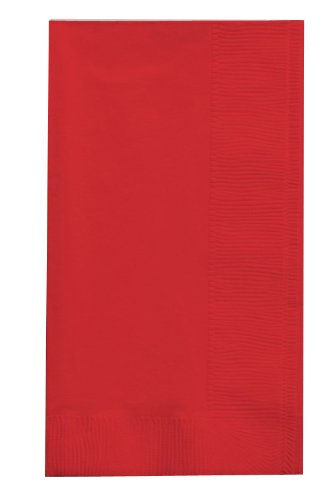 Creative Converting 50-Count Touch of Color Paper Dinner Napkins, Classic Red