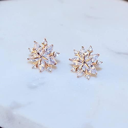 N\C Pendientes de Copo de Nieve de Piedra de Cristal a la Moda Pendientes pequeños Retro de Lujo para Mujer Pendientes de botón de Plata esterlina para Mujer