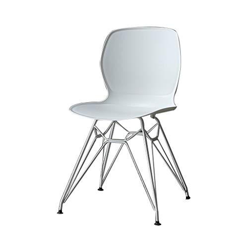 SLY Retro Ligstoelen, Eenvoudige Plastic Smeedijzer Benen Cafe Milk Tea Hot Pot Thuisgebruik Leisure Counter Terras Office Chair (Color : White)