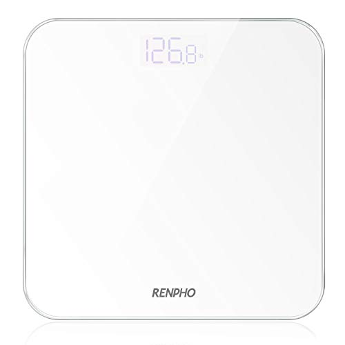 RENPHO Digital Bathroom Scale, Highly Accurate Body Weight Scale with Round Corner Design, Lighted LED Display, 400 lb, White