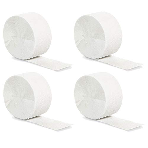 Wide White Crepe Paper Streamers Party Streamer Decorations -