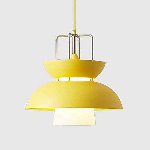 NAMFHZW Linterna de color moderna Lámpara colgante de techo Pantalla de cristal de metal Lámpara colgante E27 1 luz Lámpara colgante semi empotrada Conjunto ajustable en altura Luminaria Restaurante C