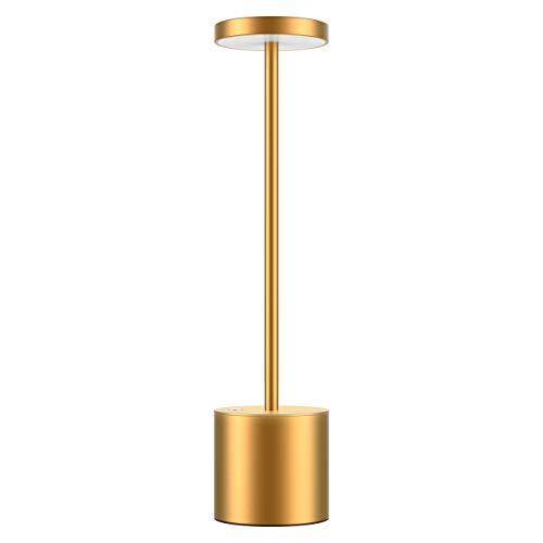 Lámpara de Escritorio LED Sin Cable,Lámpara de Mesa Regulable USB Recargable,2 Modos de iluminación,Caja de Aluminio de Metal,Protege a ojos Lámparas de noche Para Comedor, Dormitorio, Terraza,dorado