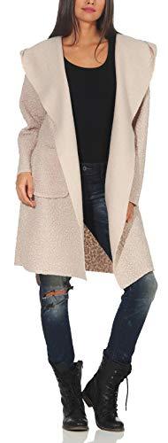 Malito Damen Wollmantel kurz | Boucle Wool | Trenchcoat mit Kapuze | weicher Dufflecoat | Parka - Jacke 9320 (beige)