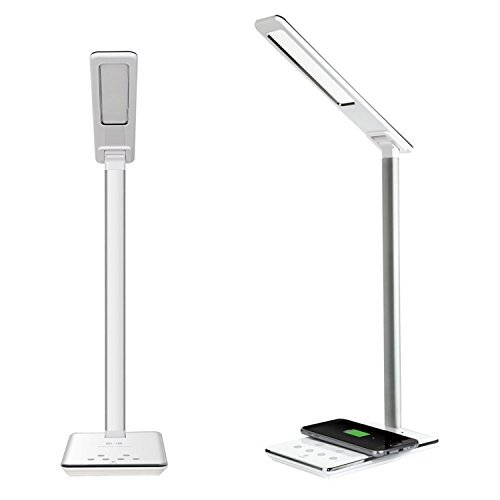 LED Desk Lamp with Wireless Charger, Dimmable Table Night Light, Eye-Caring Office Lamp, USB Folding Reading Lamp, 4 Light Modes & 5 Brightness, Memory Function, Touch Control, Timer 5V Home