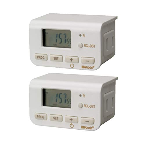 Woods 50007WD Indoor 24-Hour Digital Plug-In Timer, 2 Pack, 1 Polarized Outlet, Ideal For Automating Your Holiday Decorations and Christmas Tree Lights