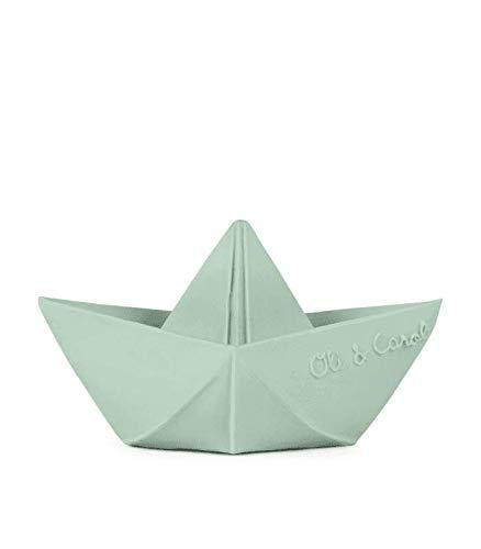 Oli&Carol Juguete Baño de Caucho Natural Barco Origami Menta 11 cm