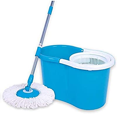HOUZIE Multi Purpose 360 Degree Rotating Easy mop for Easy and Better Cleaning Experience | Magic Spin Mop Blue- (Made in India)- with Warranty