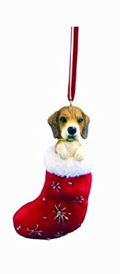 """Beagle Christmas Stocking Ornament with """"Santa's Little Pals"""" Hand Painted and Stitched Detail by E&S Imports, Inc"""