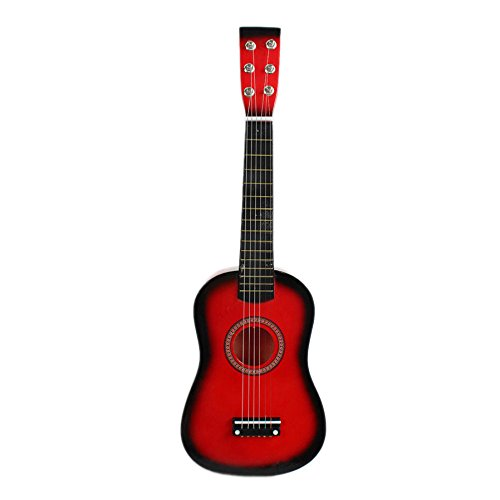 Naturra 23' Guitarra Guitarra Juguete Musical de ninos de Tilo Instrumento de Cuerdas acustica con plectro 1A Cuerda Rojo