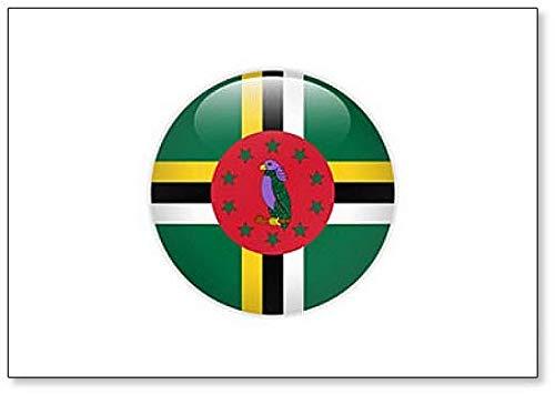 Kühlschrankmagnet Dominica-Flagge auf Knopf, klassisch