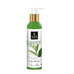Good Vibes Green Tea Purifying Face Wash, 120 ml Helps Prevent Acne, Dirt Removal Deep Cleansing Natural Antioxidants Formula for All Skin Types, No Parabens & Mineral Oil