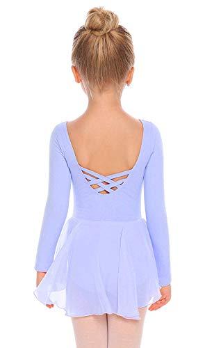 Beyove, vestito da danza per bambina, con schiena scoperta, in cotone, a maniche lunghe, per danza, per bambini