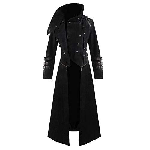 Zolimx Gothic Steampunk Herren mit Kapuze Retro-Trenchcoat Party Kostüm Frack Gericht Langarm Jacke Mantel Gotischen Bankett (Schwarz, L)