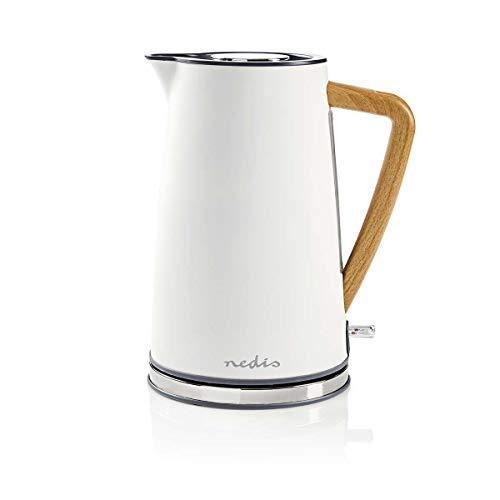 NEDIS Wasserkocher Elektrische Wasserkocher - 1,7 l - Soft-Touch - Farbe: Grau - Material: Stainless Steel - Minimiert Kalkablagerungen - Kabellose 360°-Drehsockel Weiss 0.80 m