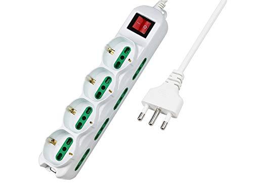 LEDLUX Multipresa Ciabatta Elettrica Con 12 Posti 4 Prese Schuko 10/16A + 8 Prese Bipasso 2P+T 10/16A Interruttore (Cavo 5 Metri)