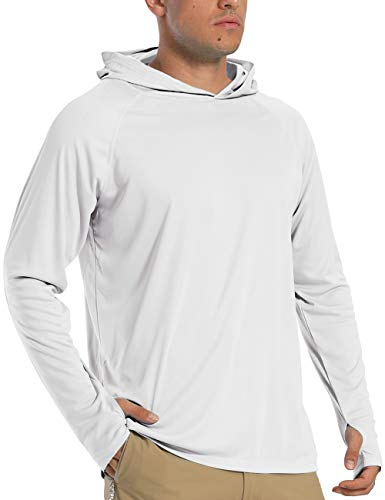 Sun Shirts for Men Long Sleeve UV Protection Quick Dry Hood Rashguard for Swimming Surf Hiking White