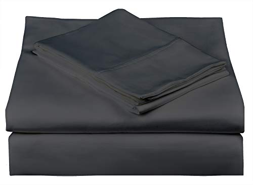 Merissa 500 Thread Count Best Bed Sheets 100% Cotton Sheet Set - Extra Long-Staple Cotton Sheets for Kids & Adults, 3 Piece Bedding Set with Deep Pocket (Dark Grey, Twin XL)
