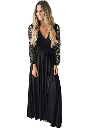 Kranda Women's Casual Floral Lace Long Sleeve Faux Wrap V Neck Bridesmaid Maxi Dress Black M