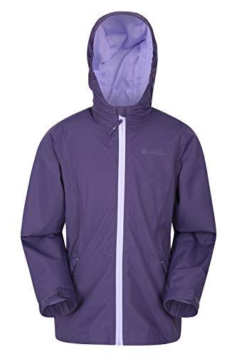 Mountain Warehouse Veste imperméable Enfants Luna - Légère, Manteau à Coutures soudées, Poches zippées, Poignets réglables - pour l'été Violet foncé 11-12 Ans