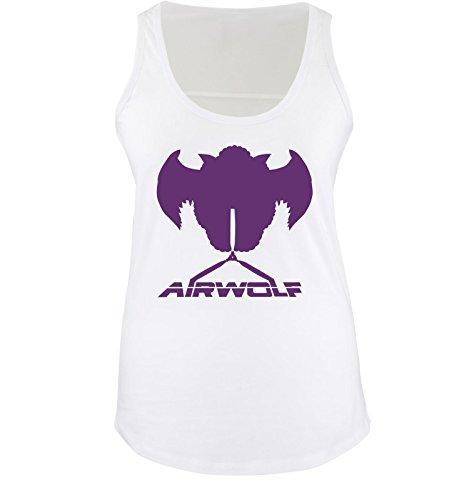 Unbekannt Airwolf - Logo II - Damen Tank Top - Weiss/Lila Gr. XL