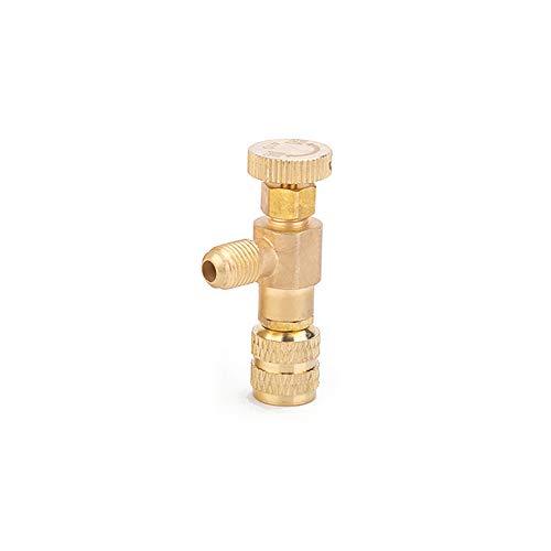 """KKmoon R410 Válvula de Carga de Refrigerante 1/4""""- 1/4"""" Válvulas de Control de Flujo de Cobre Válvula de Seguridad de Cobre y Flúor"""