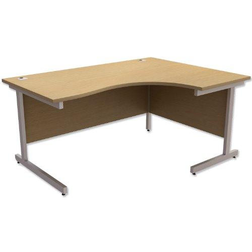 Trexus contratto radiale scrivania destra argento gambe W1600x D1200x H725MM Oak
