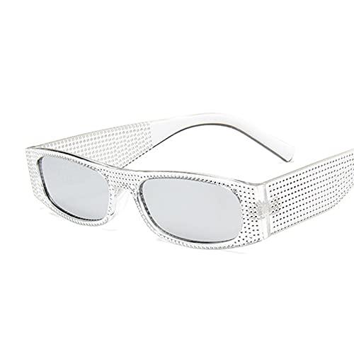Gafas de Sol cuadradas pequeñas a la Moda para Mujer, Gafas De Sol con Diamantes de imitación, Gafas De Sol Femeninas de diseñador de Marca de Moda,Silver