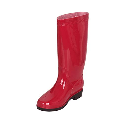 GDSSX Clásico Color sólido Tubo Impermeable Botas de Lluvia Media de Las Mujeres Botas de Lluvia Suela Antideslizante Outdoor (Color : Red, Size : 40)