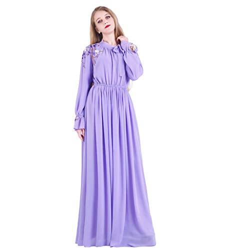 Lazzboy Muslimische Langarm Dubai Robe Abaya Party Kleid Der Frauen Muslim Damen Einfarbig Maxikleid Abendkleid Knöchellang Hochzeit Kaftan Gewand Ramadan Kostüm(Violett,L)