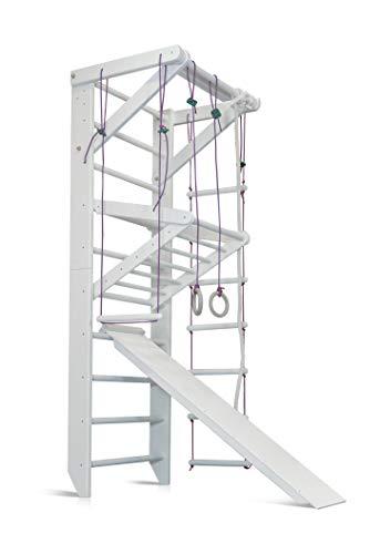 Turnwand Gym Klettergerüst Sport-3-220-Weiß Holz Sportgerät Kletterwand Sprossenwand mit Stange Fitness - Zertifikat!