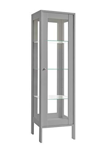K-Möbel Glasvitrine in Silber (150x42x40 cm) mit 3 höhenverstellbaren Glasböden aus ESG, LED, Schloss, 4 Seiten Glas; beleuchtet; freistehend; perfekt für Sammler;