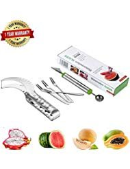 Watermelon Slicer Completed Kits,Baller to Fruit Sharp Carving Knife, 4Pieces Fruit Forks,304 Stainless Stell Materilas,Cutter with Anti-Slip Set Handle, Prefect Used for Kitchen,All Kind Of Melon