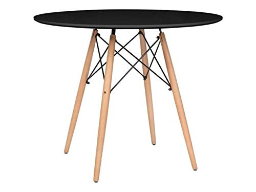 Mirjan24 Esstisch Fiorino Runde, Kaffeetisch, Küchentisch Modern Büro Konferenztisch, Esstisch Küche Holz Kaffee Tee Büro (Schwarz)