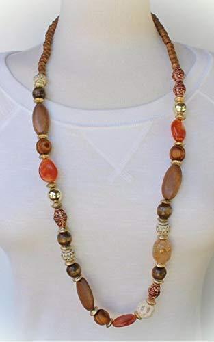 Collar de cuentas de madera marrón de 76 cm de largo para mujer