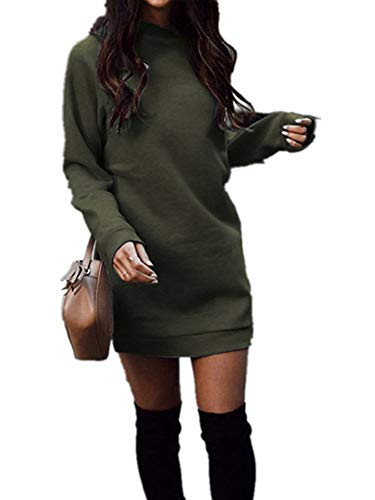 Xuan2Xuan3 Fall Winter Dress for Women Fleece Knit Long Sleeve Crewneck Sweatshirt Pullover Sweater Dress Army Green